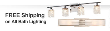 Free Shipping on all Bathroom Lighting!