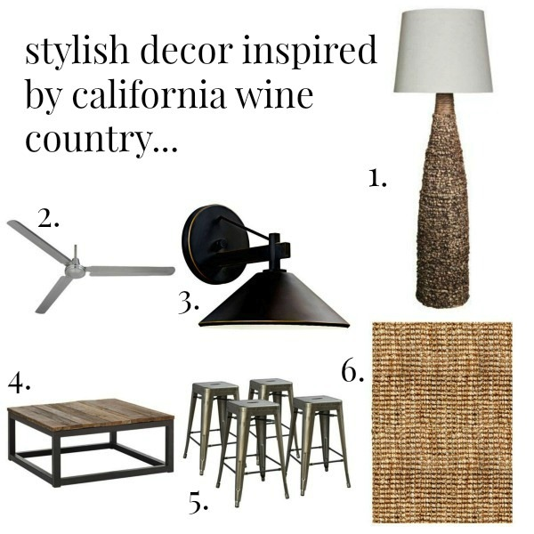 A selection of home decor accessories that capture Napa style.