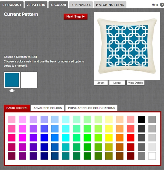 The online template used to create custom pillow designs.