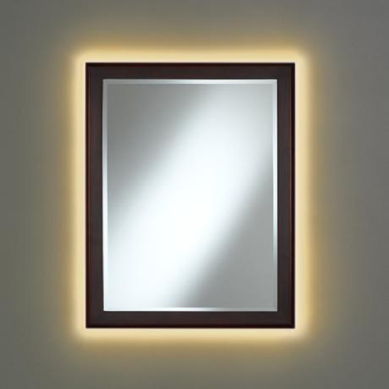 A mirror with backlighting.