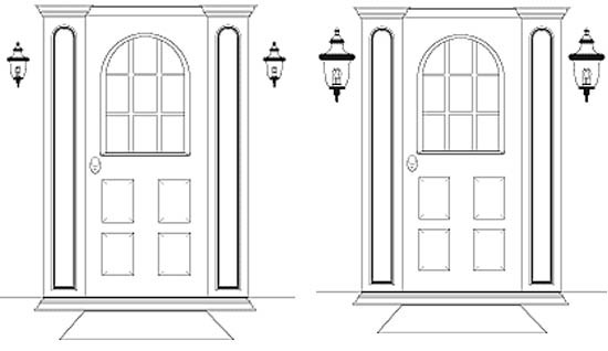 A light sizing guide for mounting outdoor lights next to a door.