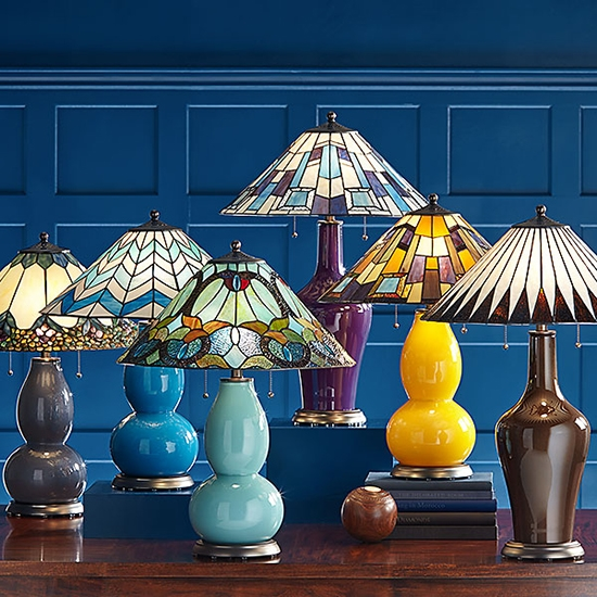 Tiffany-style lamps in a variety of colors.