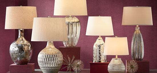 A selection of six stylish table lamp designs from the lamps plus collection