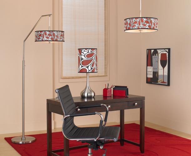 Art shade floor lamp, table lamp, and pendant lighting.