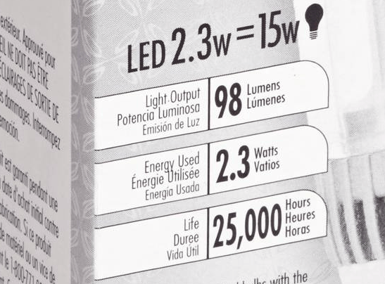 Light bulb box with lumen information.