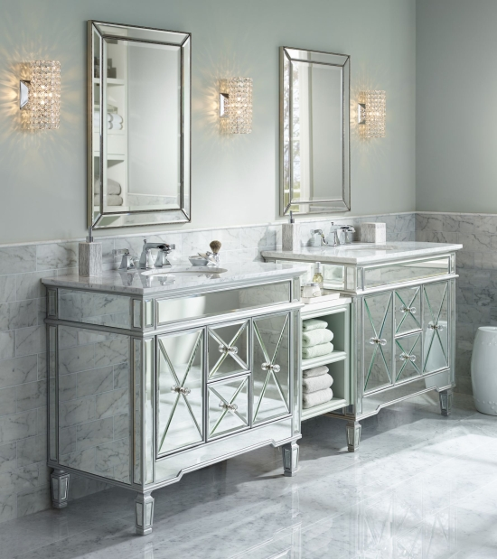 Lighting up the bathroom with bathroom vanity lighting ideas luxe style bathroom with mirrored vanities and crystal sconces aloadofball Choice Image