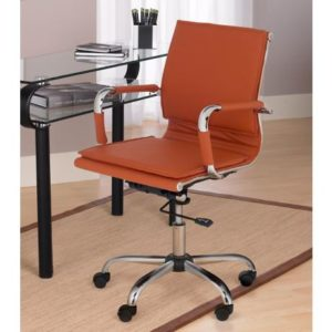 A Picture of a Leather Desk Chair in a Home Office