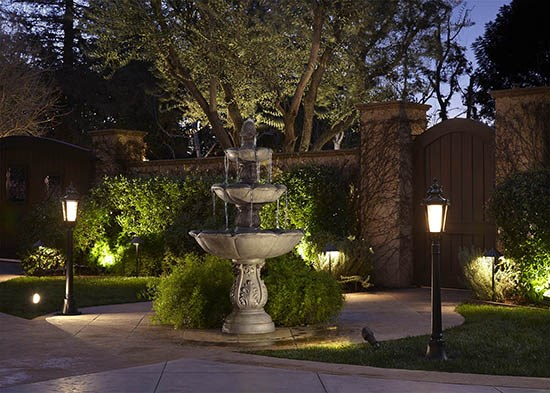 Outdoor fountain and landscape lighting.