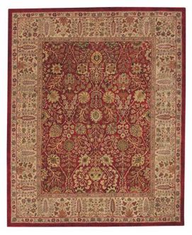 An elaborate red Oriental style rug with decorative elements.