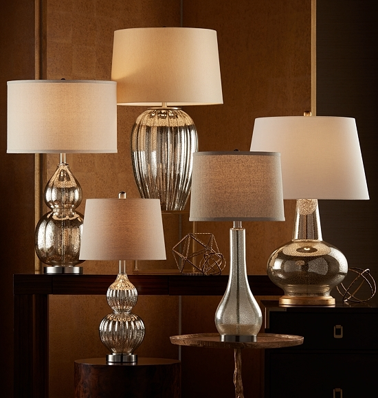 Table lamps arranged in a variety of styles.