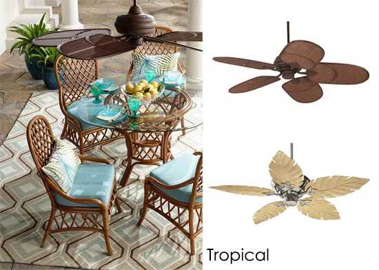 A rattan outdoor ceiling fan with a tropical dining set.