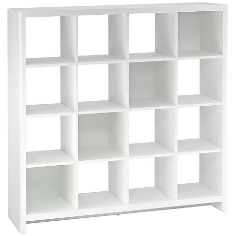 A Lamps Plus white 16-cube bookcase.