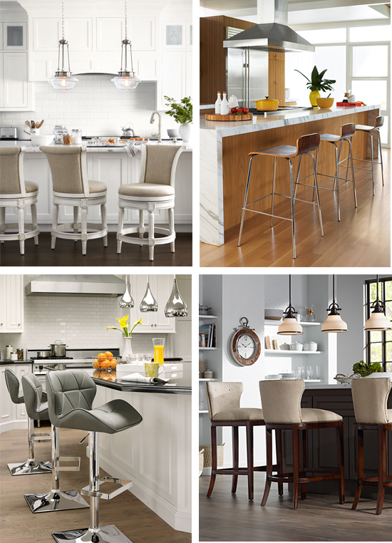 Barstools in various kitchen designs.