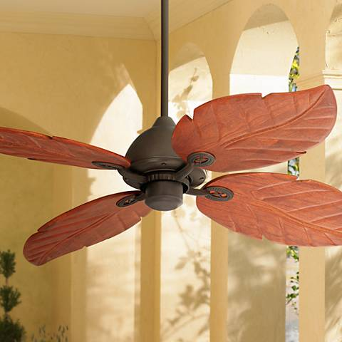 Tropical Style Ceiling Fan With Walnut Finish Wood Blades Shaped And Textured To Resemble
