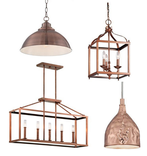 Copper kitchen pendants from lamps plus