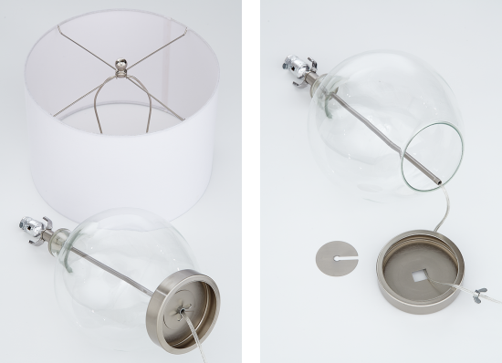 A disassembled fillable table lamp.