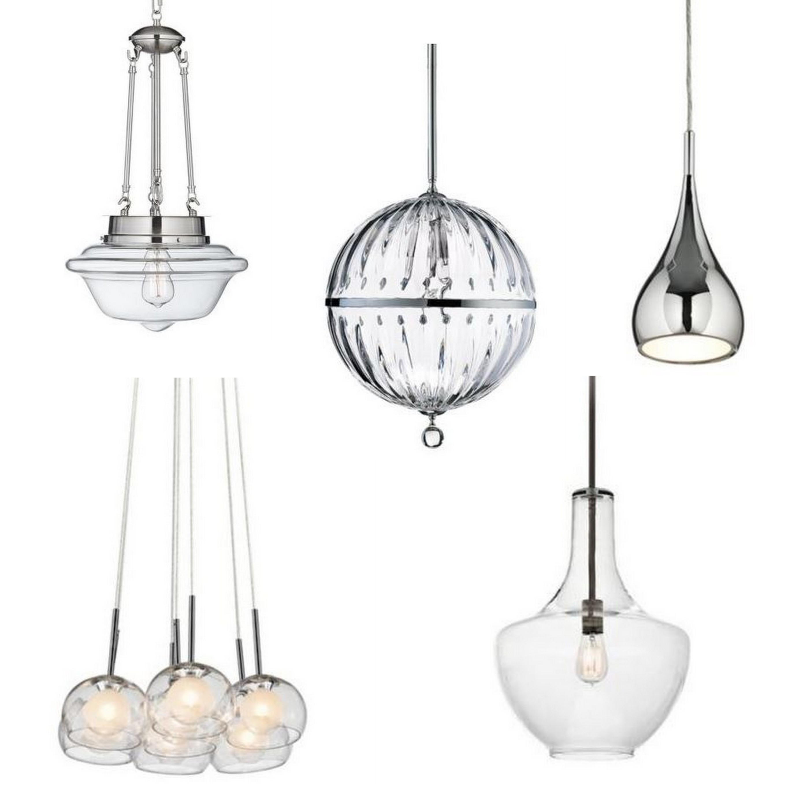 a selection of five glass pendants from lamps plus - Hanging Light Fixtures For Kitchen