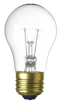 A clear glass incandescent light bulb with a standard base and A19 shape