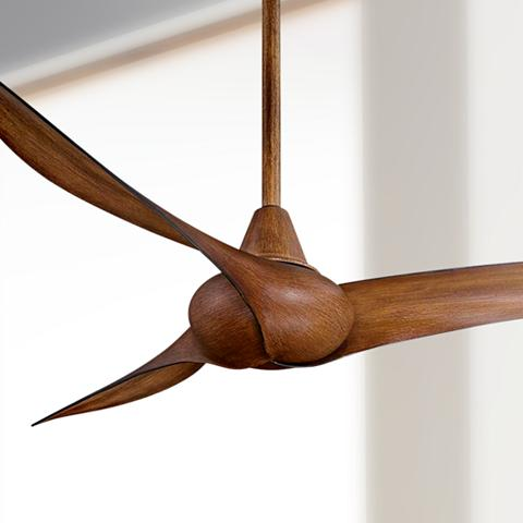 Brown koa wood ceiling fan in a clean, simple design.