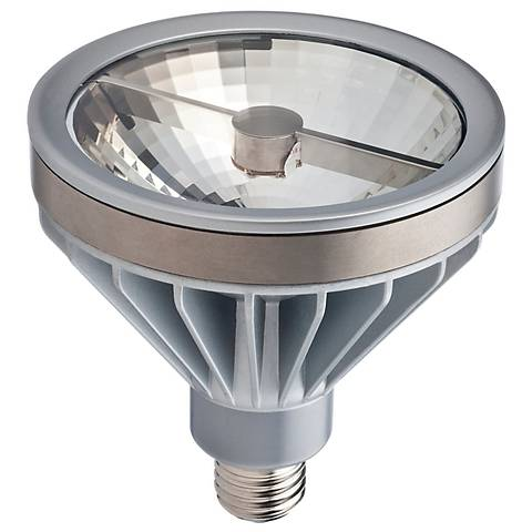 An LED light bulb in a wide reflector shape and standard base design