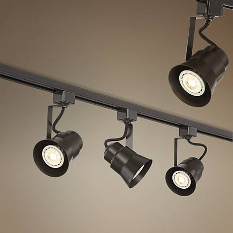 A linear strip of track lighting.