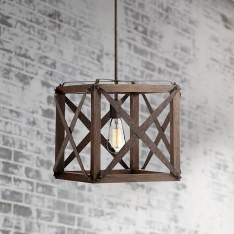 Brown rustic pendant light with an oak frame and a rust finish.