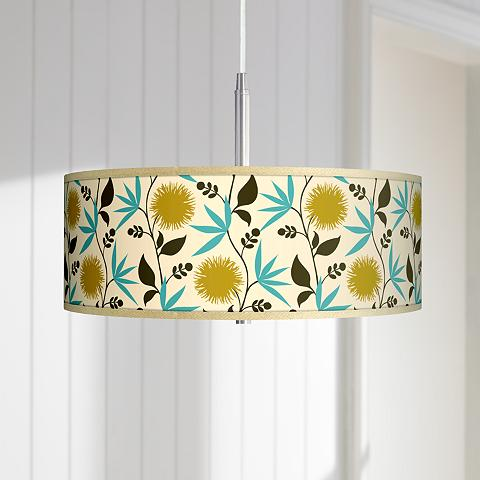 Pendant light with a dahlia floral patterned giclee art shade.