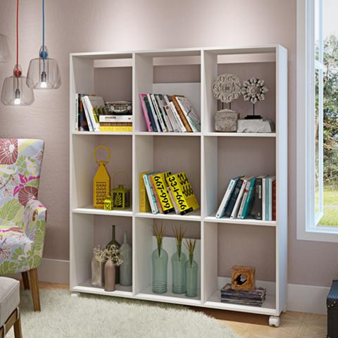 White nine-section bookcase in a clean and plain contemporary design.