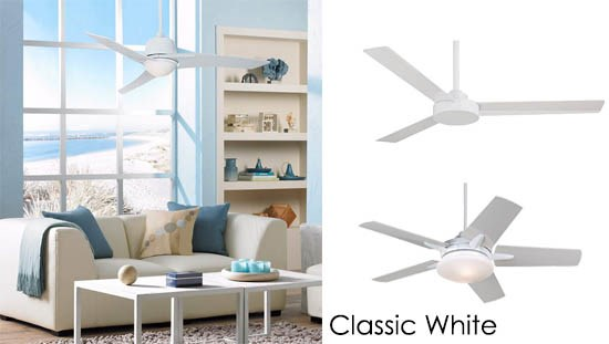 A classic white ceiling fan in a living room setting.