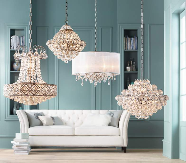 Image of several crystal chandeliers