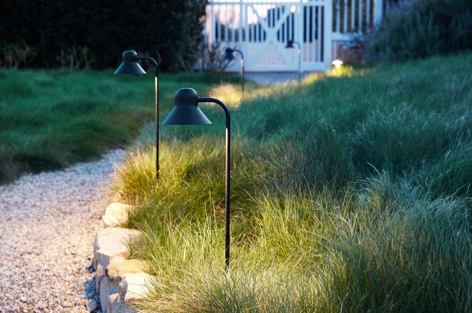 Photo of path lights in a yard