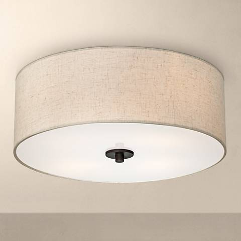 A flush mount ceiling light.