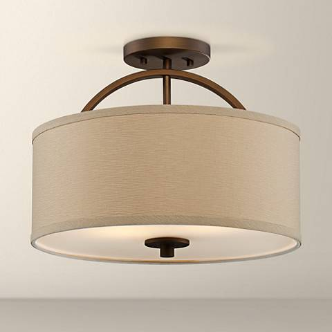 A semi-flush mount ceiling light.