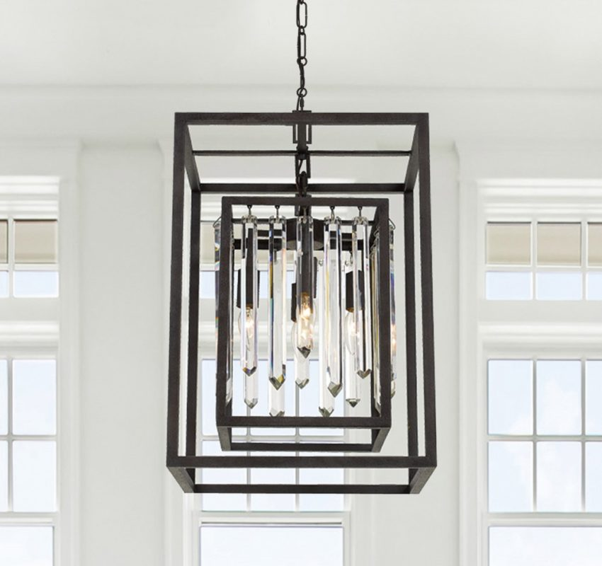 chain-hung rectangular pendant chandelier